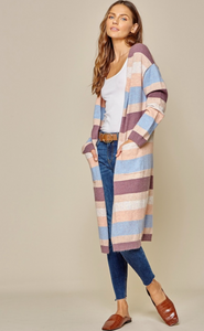 Open Color Block Cardigan