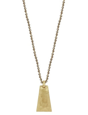 Crystal w Hammered Gold Triangle Necklace