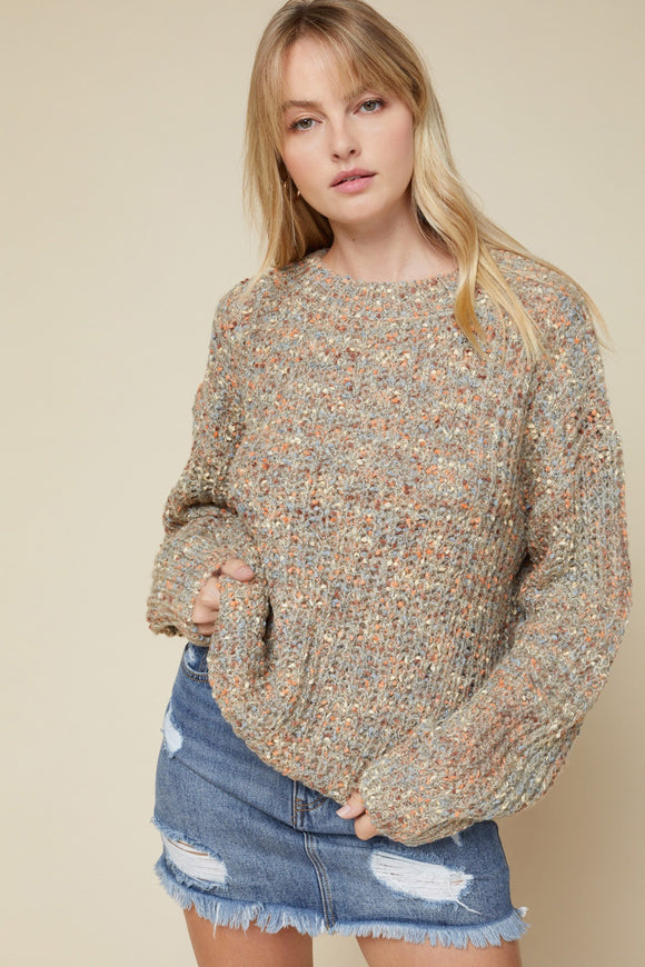 Speckled knit pullover sweater