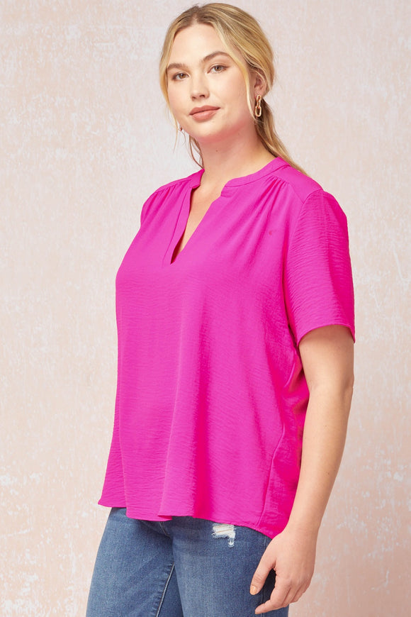 Plus Solid V-Neck Placket Top