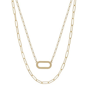 "Layered Matte Gold Oval and Chain 16""-18"" Necklace"