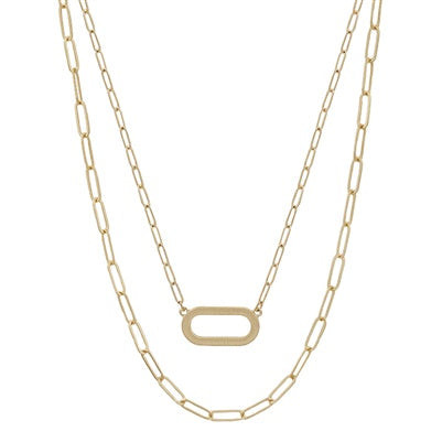 Layered Matte Gold Oval and Chain 16