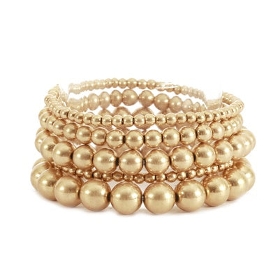 Set of 5 Multi Gold Beaded Stretch Bracelets
