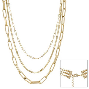 "Matte Gold Three Layered 16""-20"" Necklace"