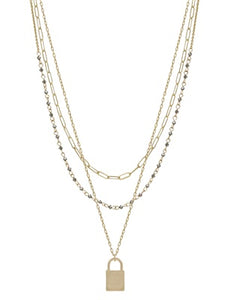 "Gold Triple Layered with Grey Crystal and Locket 16""-18"" Necklace"