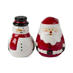Jolly Santa & Snowman Salt & Pepper Set