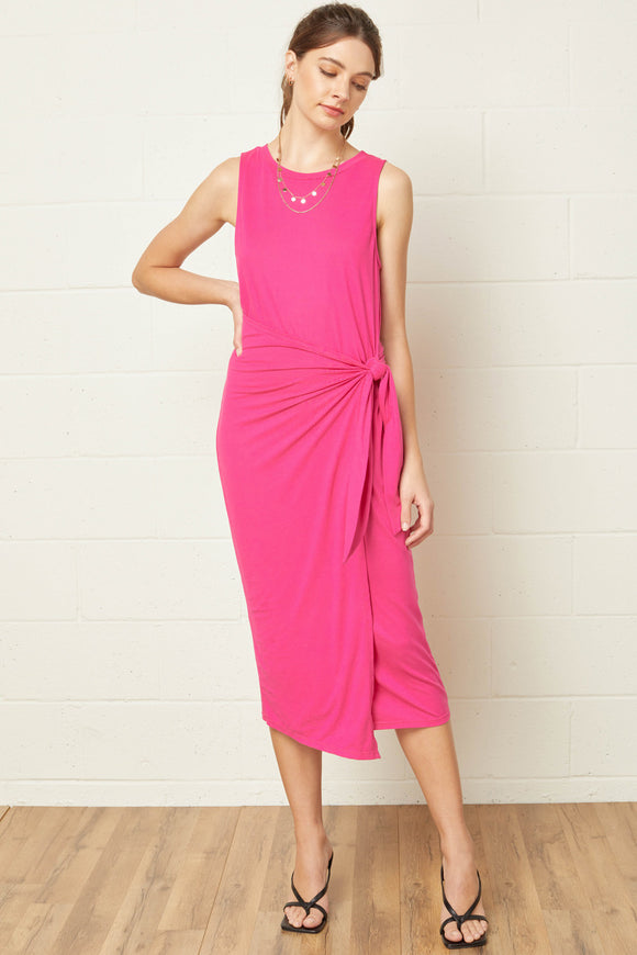 Solid Round Neck Sleeveless Midi Dress