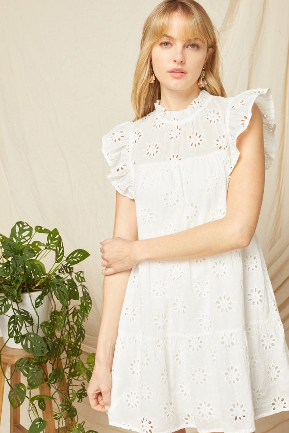 Eyelet Mock Neck Dress