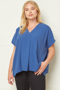 Plus Solid V-neck SS Top w Placket Detail