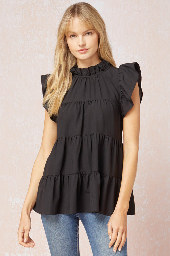Solid Mock Neck Ruffle Sleeve Tiered Top