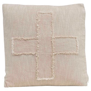 "20"" Square Woven Cotton Slub Pillow w/ Embroidered Swiss Cross, Natural"