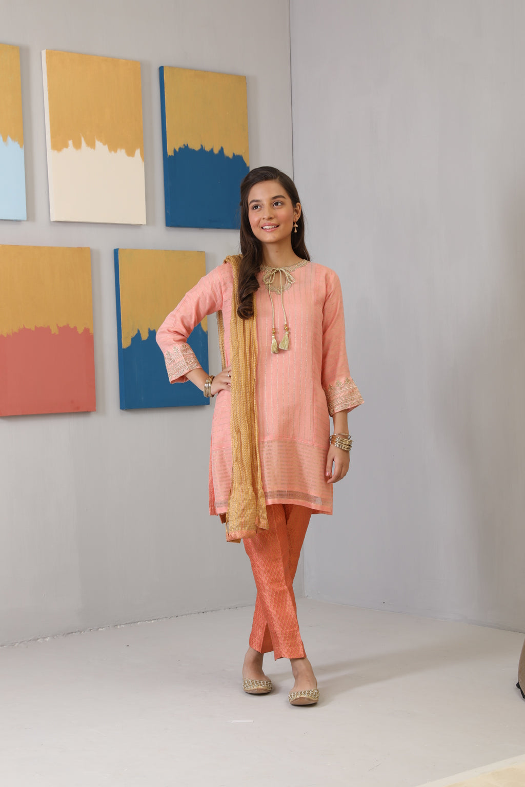GDD-01496 | Peach | Formal 3 Piece Suit  | Banarsi Khaddi Net