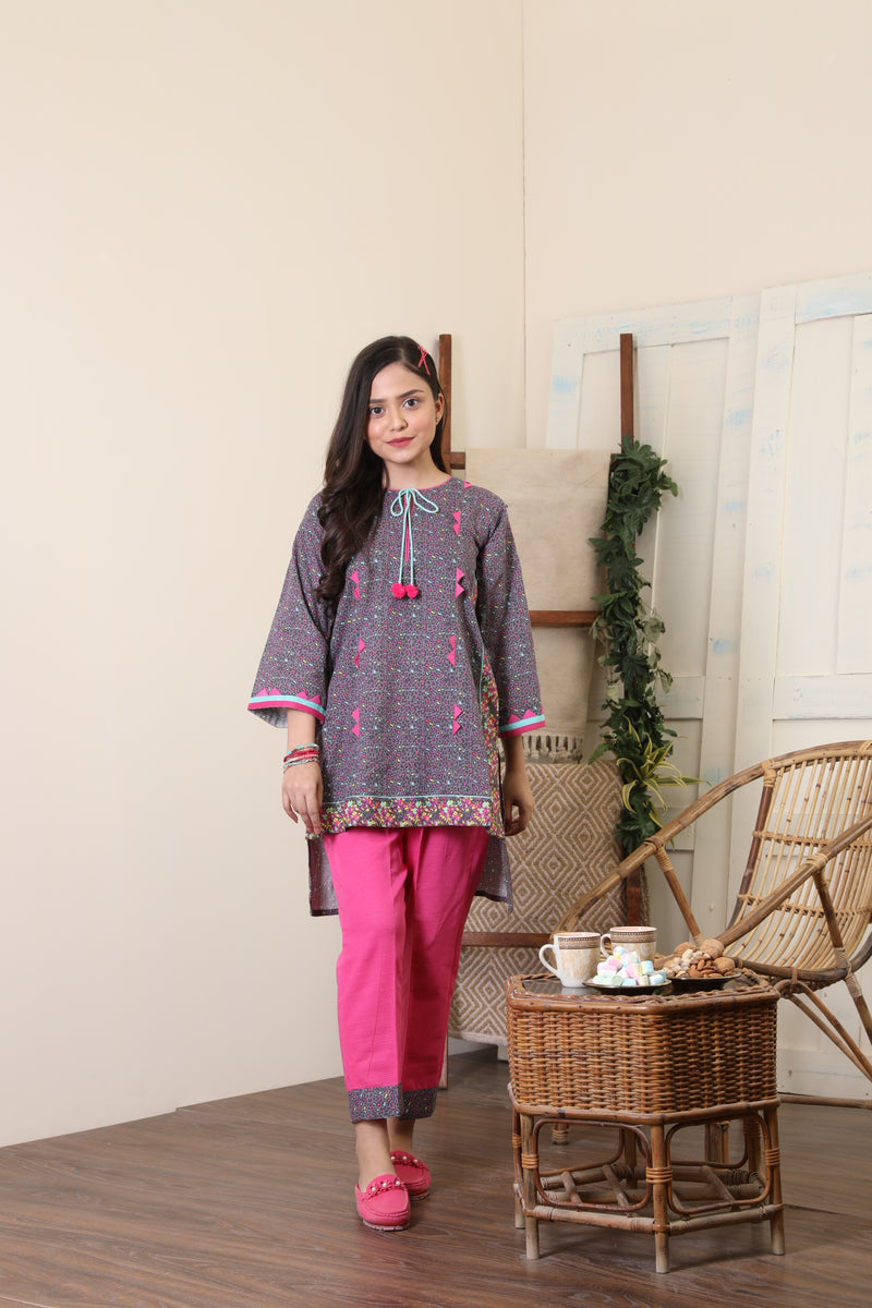 GAC-01656 | Grey & Pink | Casual 2 Piece Suit  | Cotton Khaddar Print