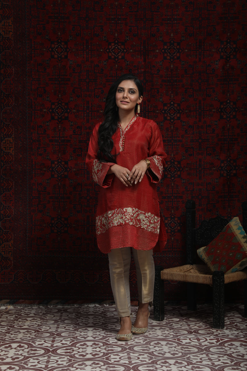 LDA-01361 | Red | Formal Kurta | Zari