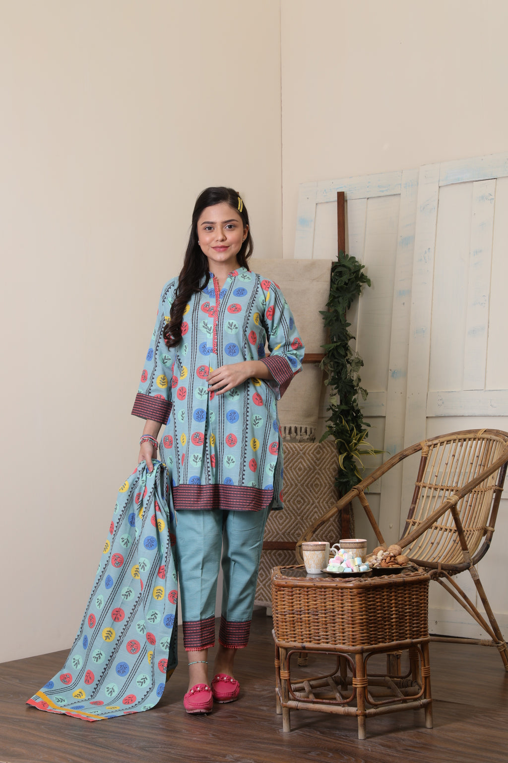 GAD-01653 | Light Blue | Casual 3 Piece Suit  | Cotton Khaddar Print
