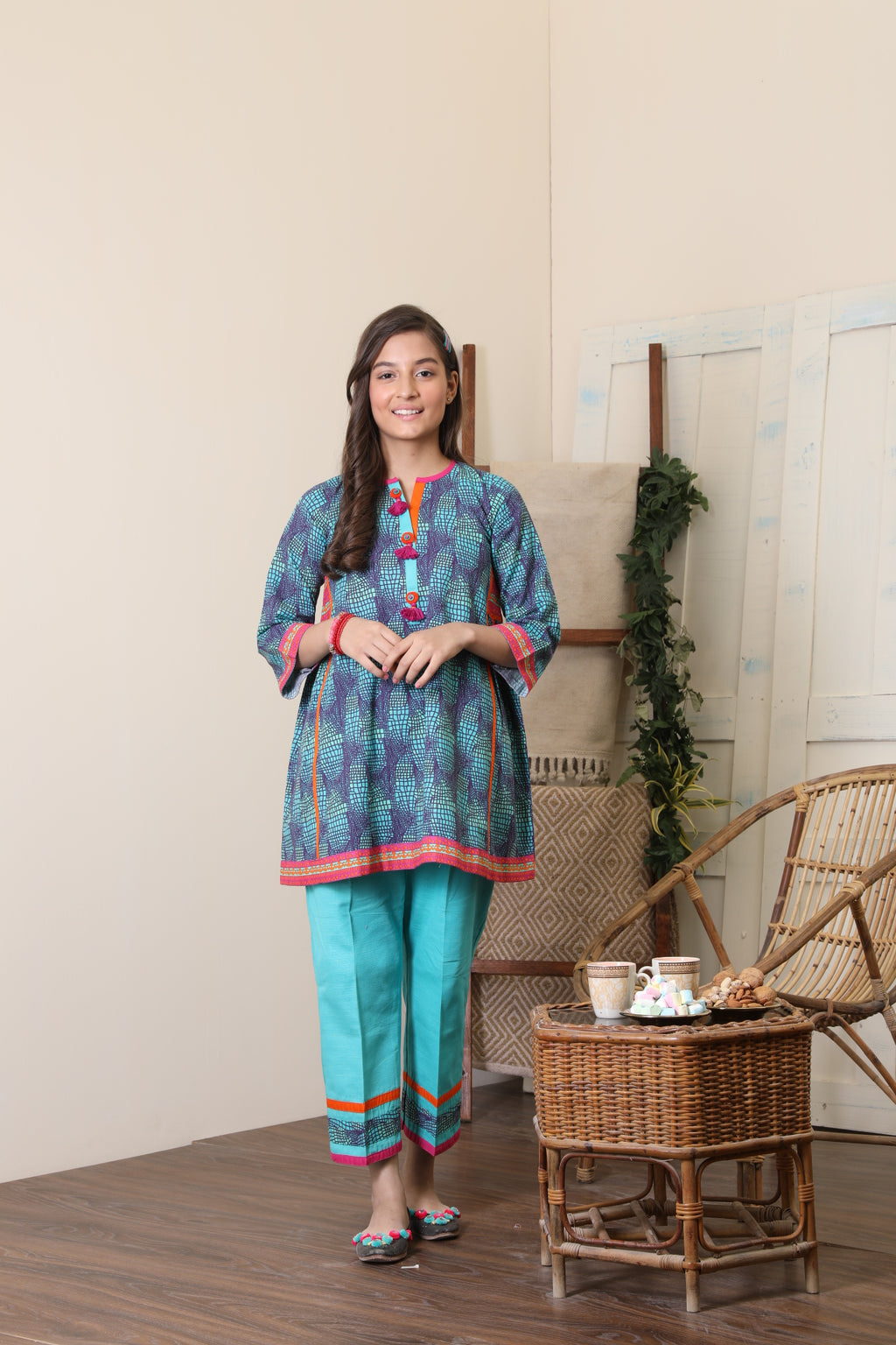 GAC-01655 | Sea Green & Multicolor | Casual 2 Piece Suit  | Cotton Khaddar Print