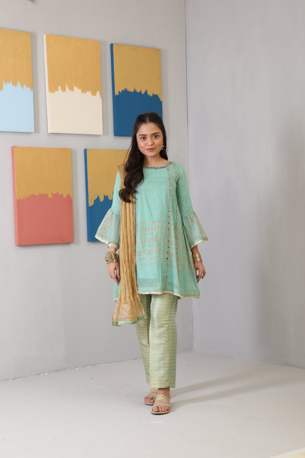 GDD-01495 | Sea Green | Formal 3 Piece Suit  | Banarsi Khaddi Net