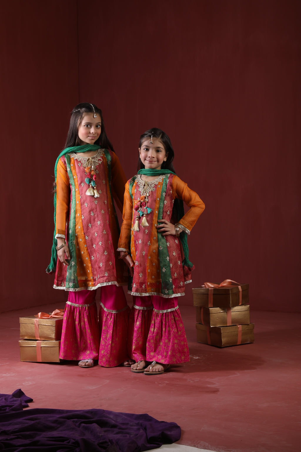 Kids Formal 3 Piece Suit | Banarsi Masuri | Shocking Pink & Multicolor | KDD-01320