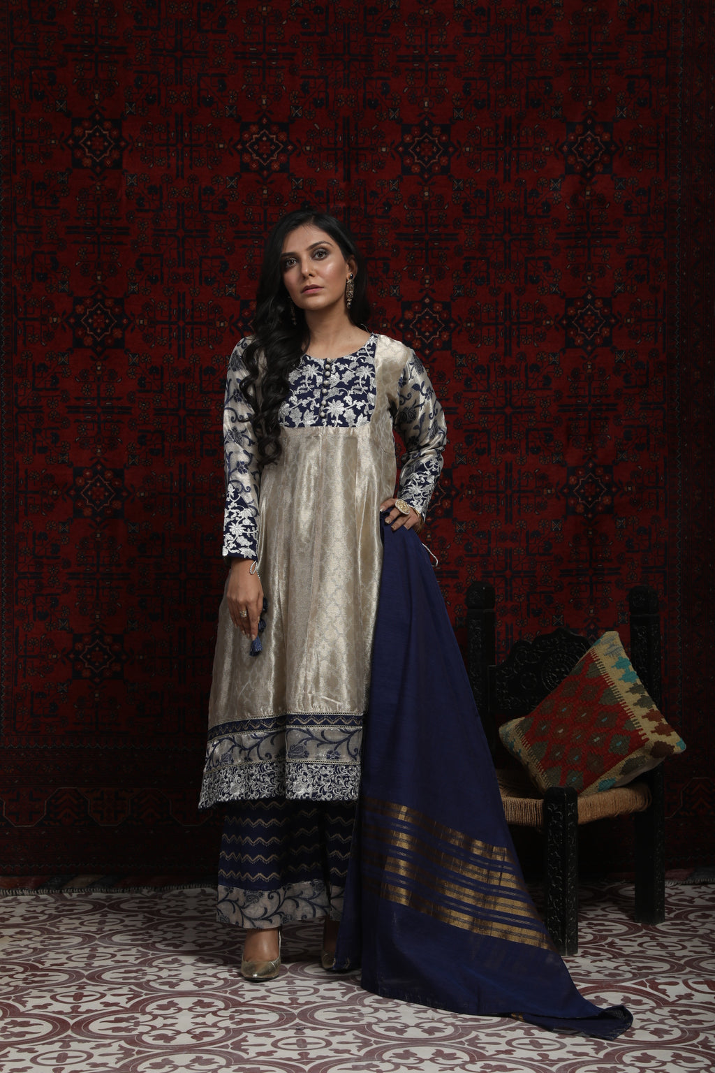 LDD-01690 | Metallic Beige & Blue | Formal 3 Piece Suit  | Banarsi Jacquard (Metallic)