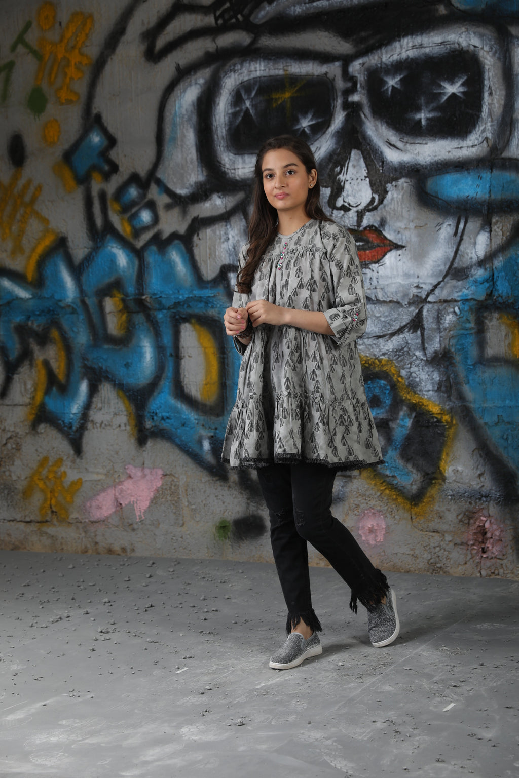 GAA-01633 | Grey | Casual Kurta | Cotton Denim Print