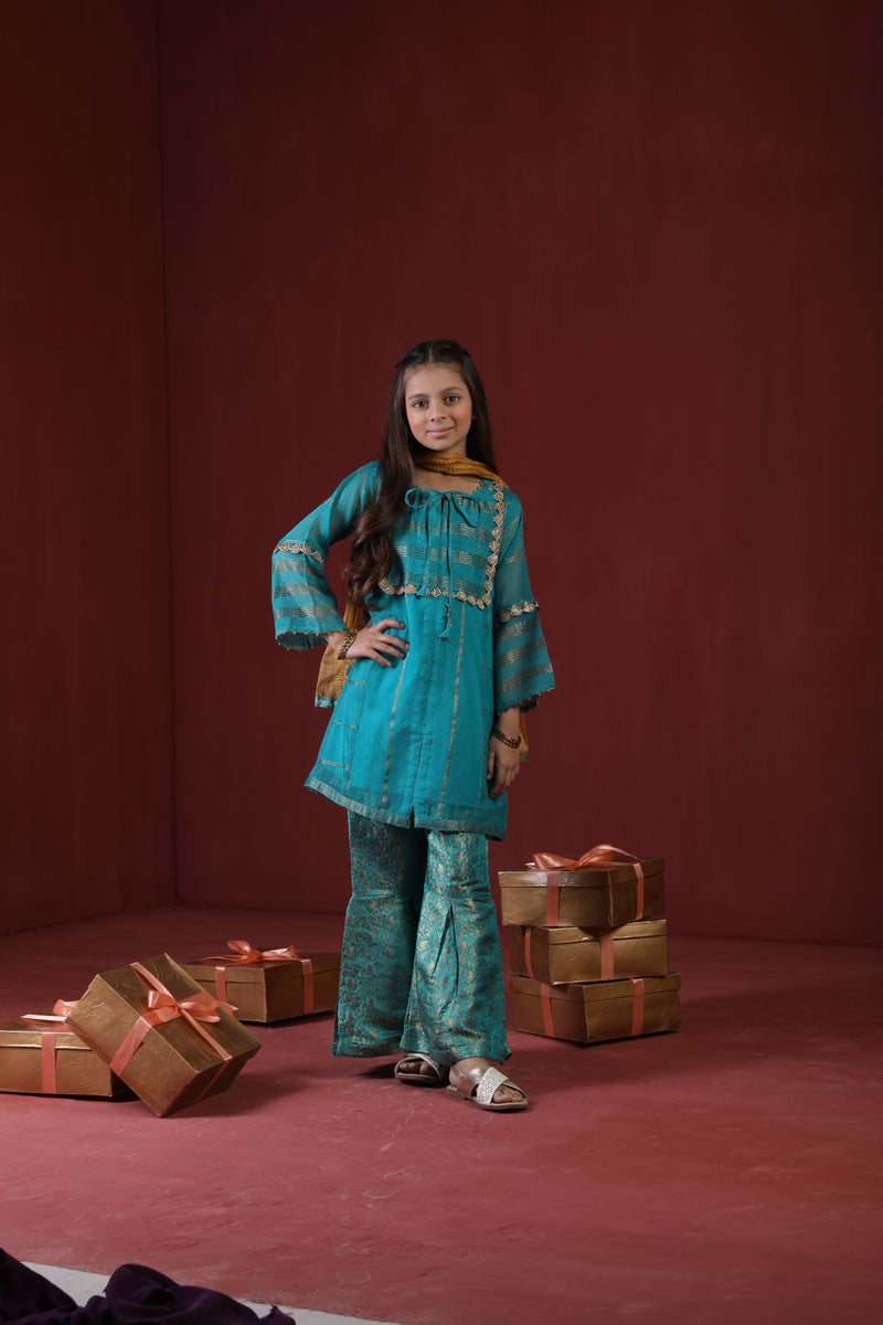 KDD-01638 | Sea Green | Formal 3 Piece Suit  | Banarsi Khaddi Net