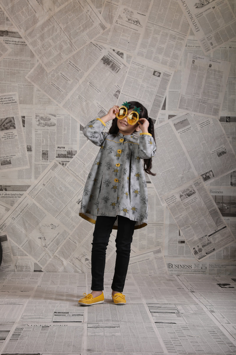 KAA-01620 | Grey | Casual Kurta | Cotton Denim Print