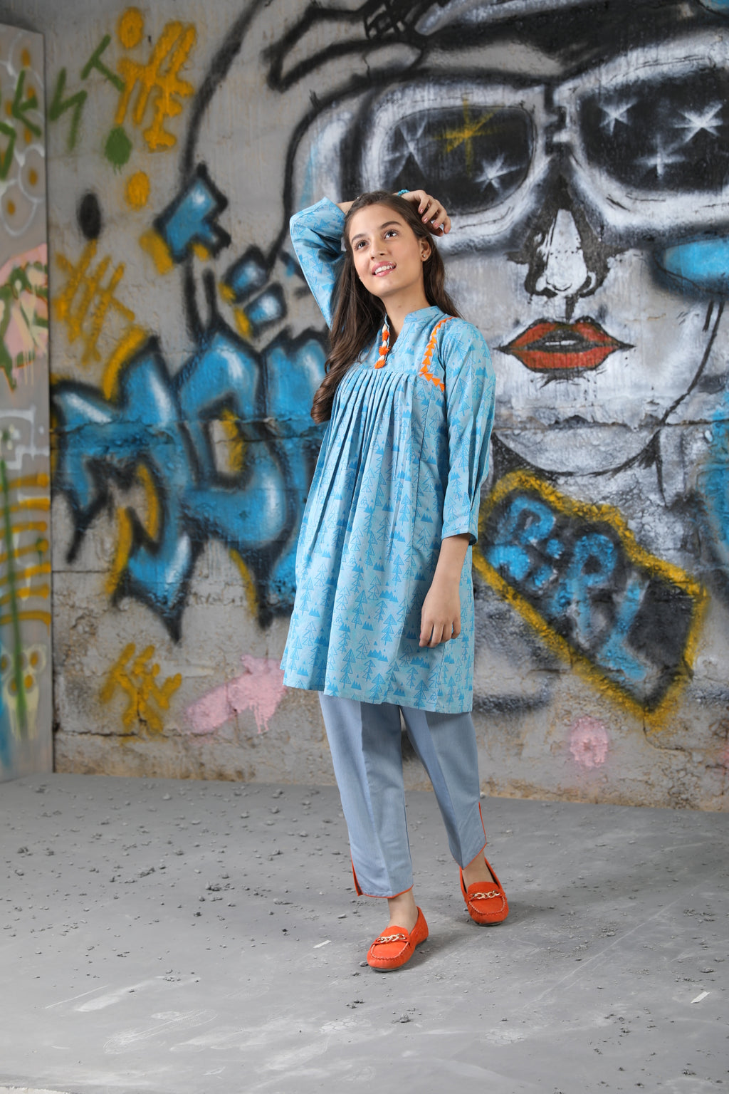 GAC-01624 | Light Blue | Casual 2 Piece Suit  | Cotton Denim Print