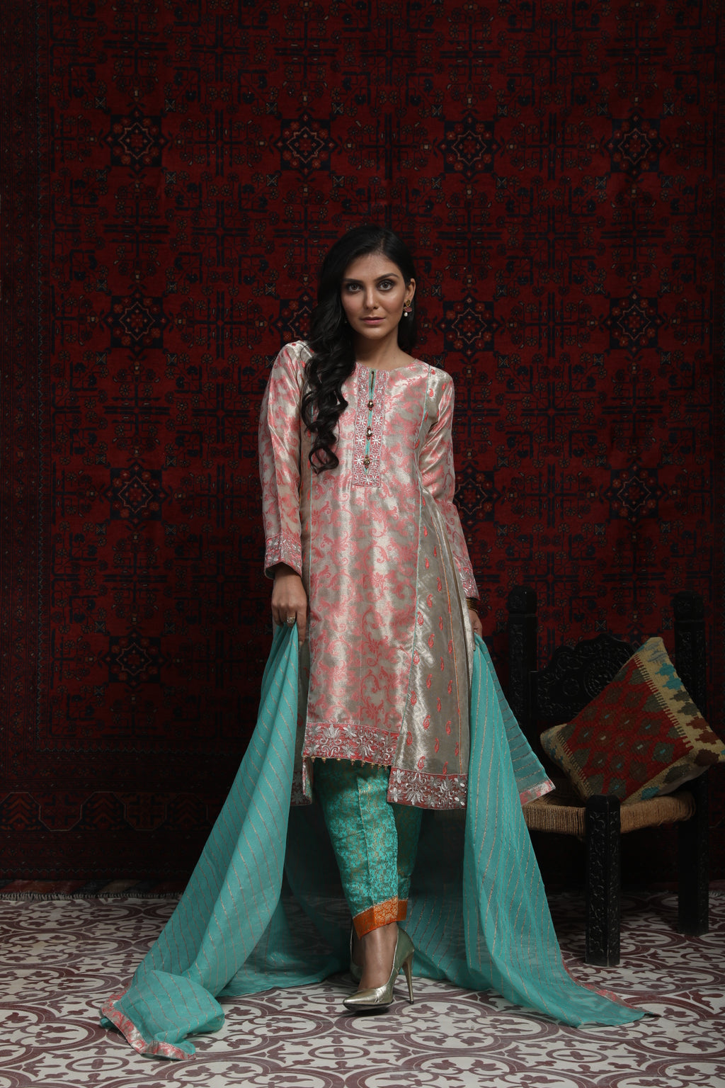 LDD-01692 | Metallic Beige & Sea Green | Formal 3 Piece Suit  | Banarsi Jacquard (Metallic)