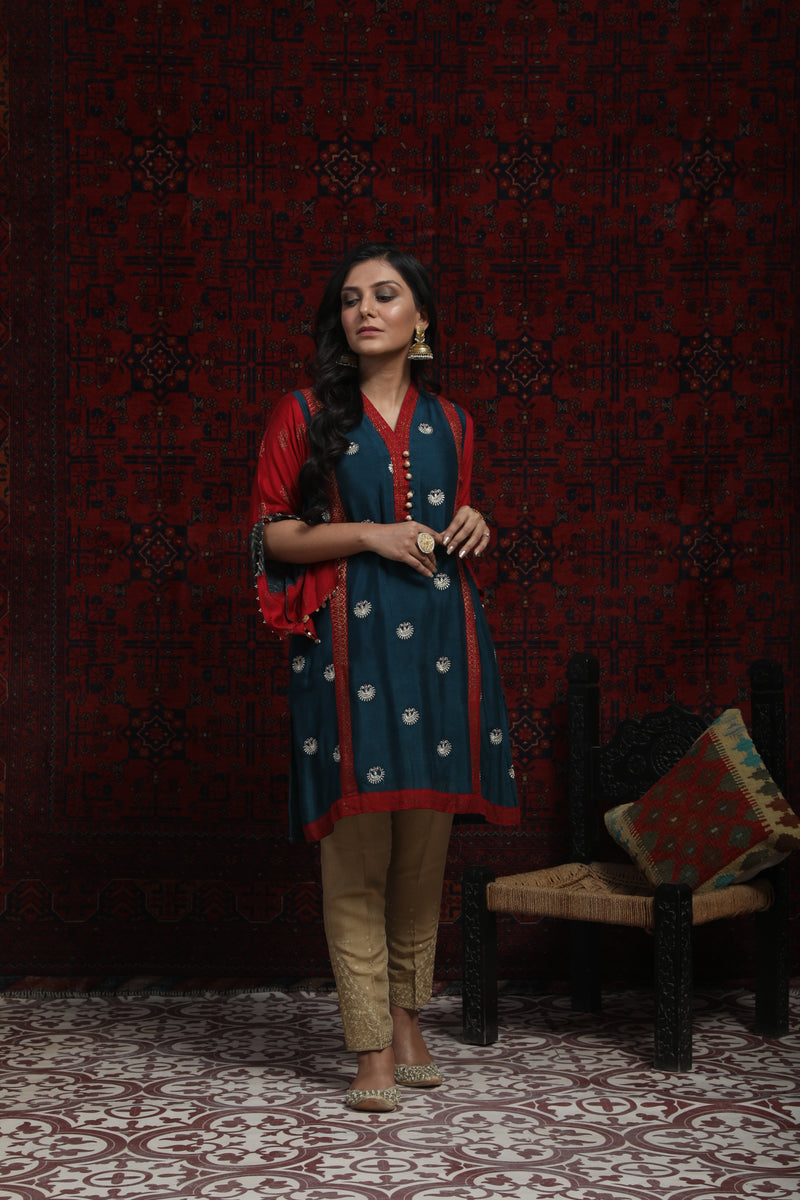 LDA-01359 | Turquoise Blue & Red | Formal Kurta | Viscose Grip