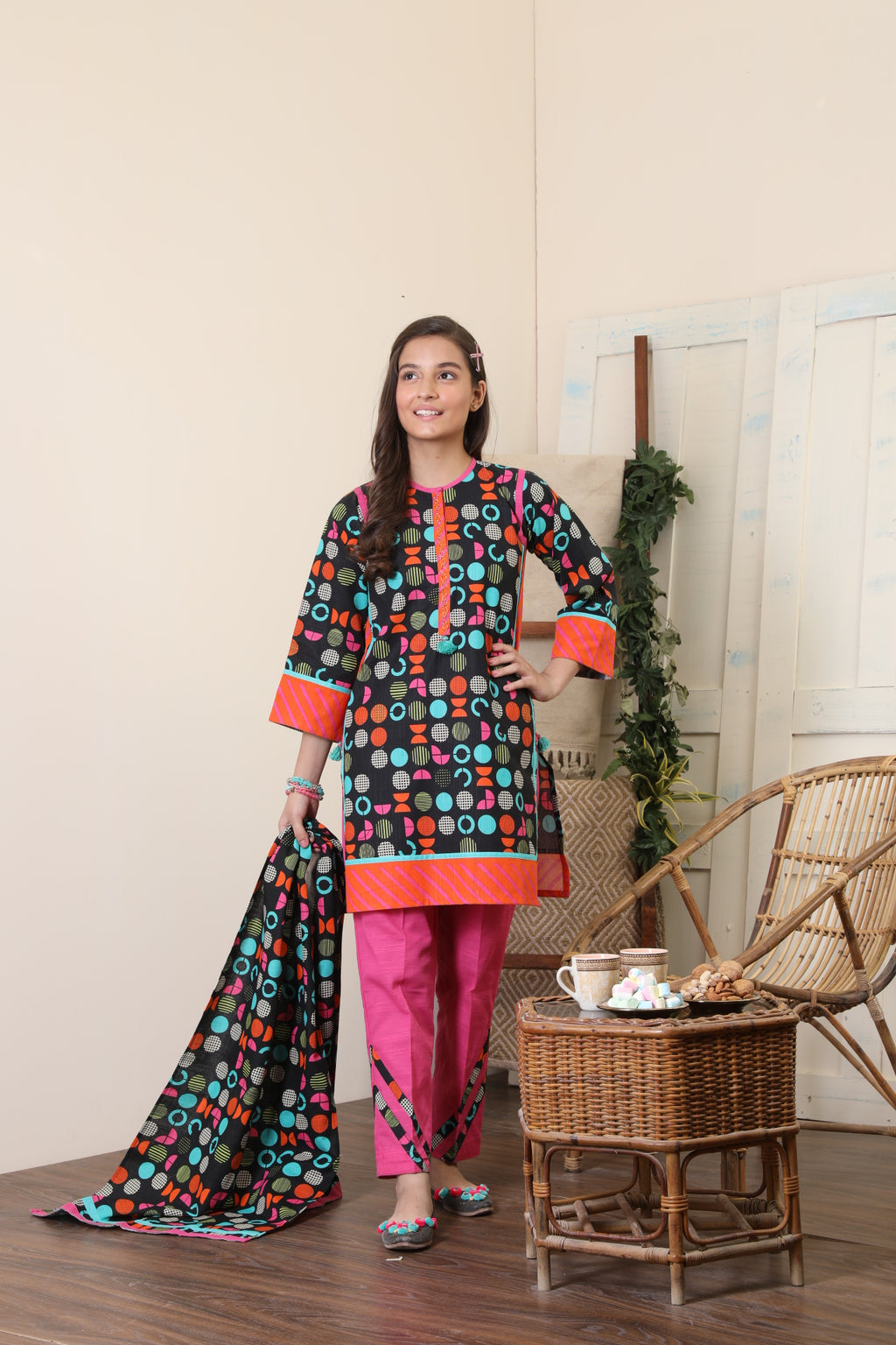 GAD-01654 | Black & Multicolor | Casual 3 Piece Suit  | Cotton Khaddar Print