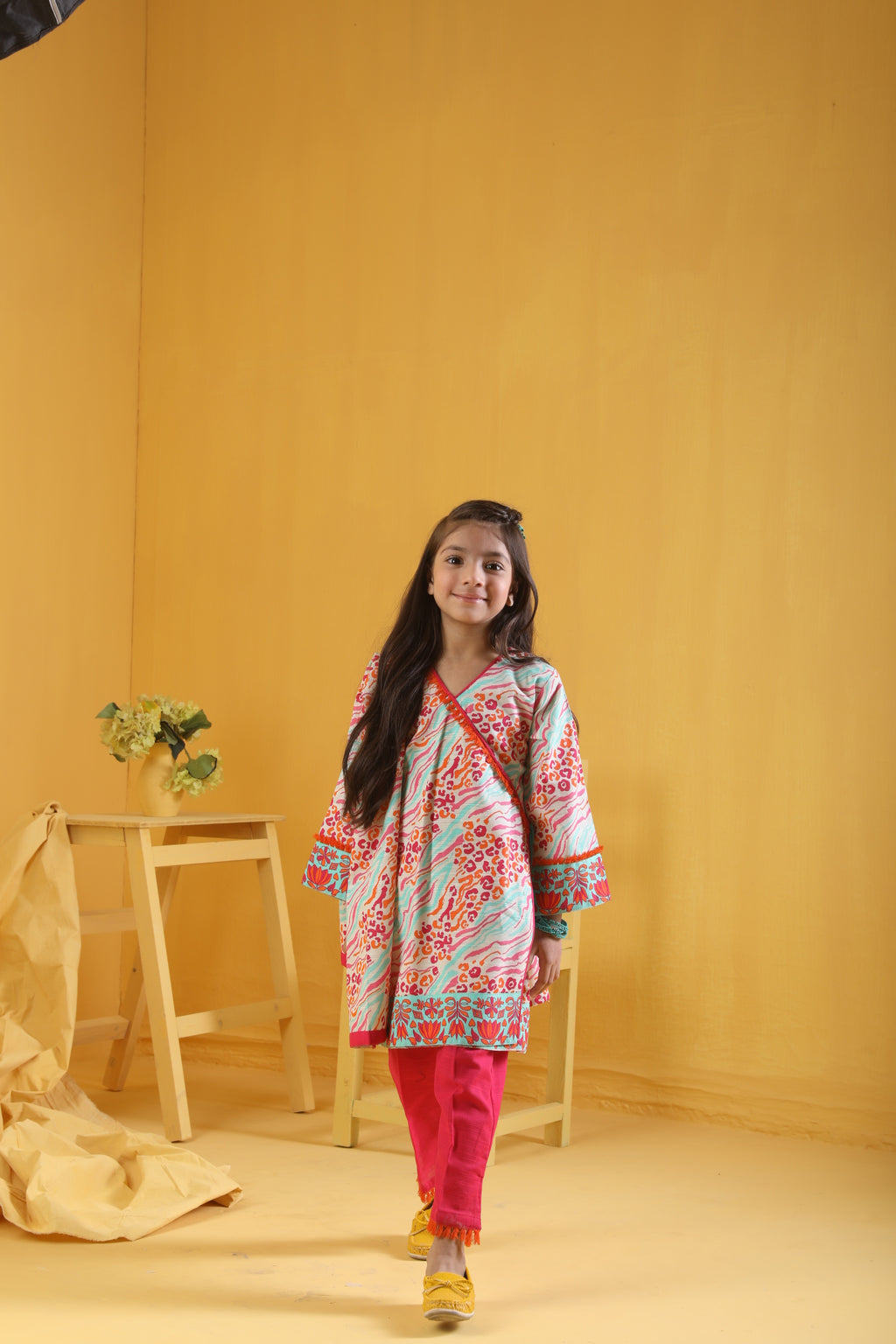 KAD-01650 | Shocking Pink & Multicolor | Casual 3 Piece Suit  | Cotton Khaddar Print
