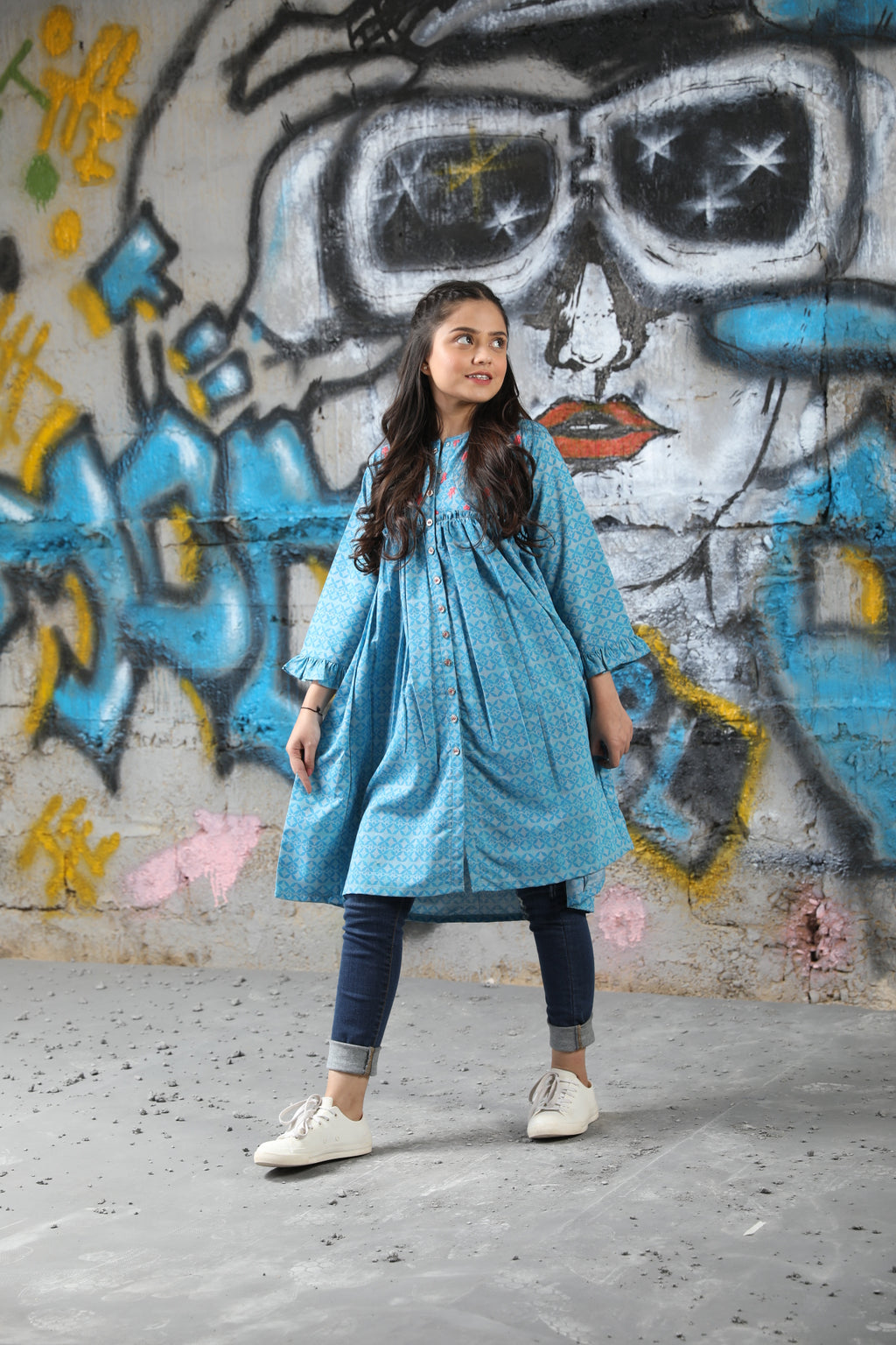 GAA-01634 | Light Blue | Casual Kurta | Cotton Denim Print