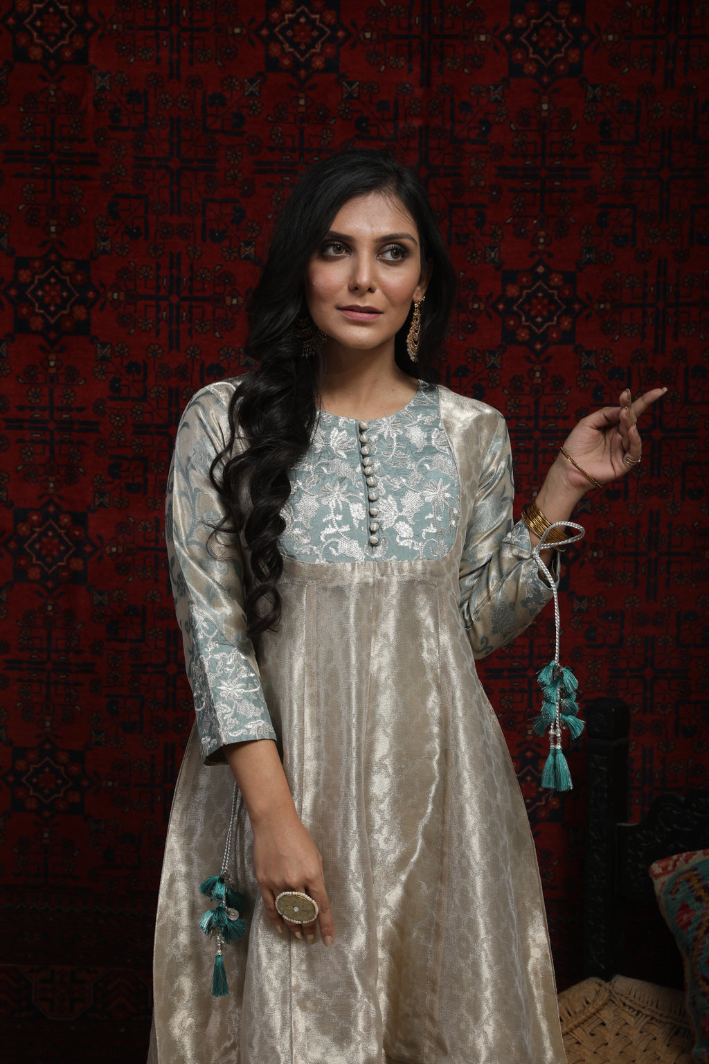 LDD-01309 | Metallic Beige & Grey | Formal 3 Piece Suit  | Banarsi Jacquard (Metallic)