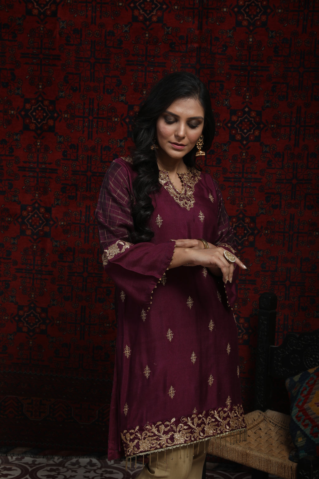 LDA-01362 | Purple | Formal Kurta | Banarsi Viscose Zari