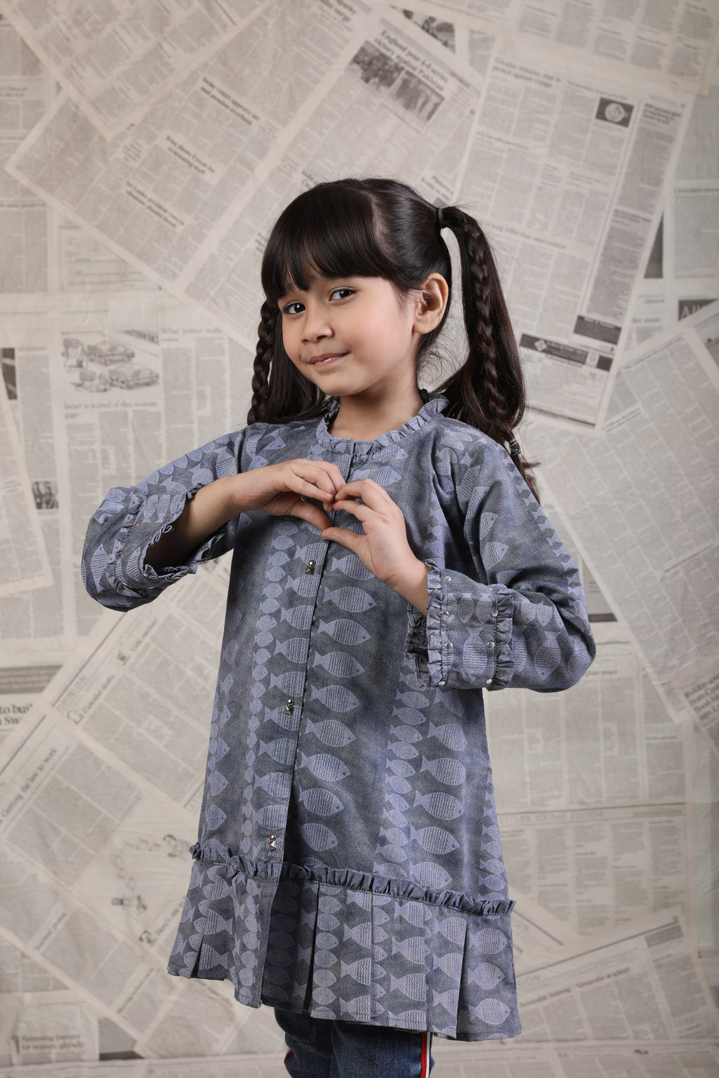 KAA-01665 | Blue | Casual Kurta | Cotton Denim Print