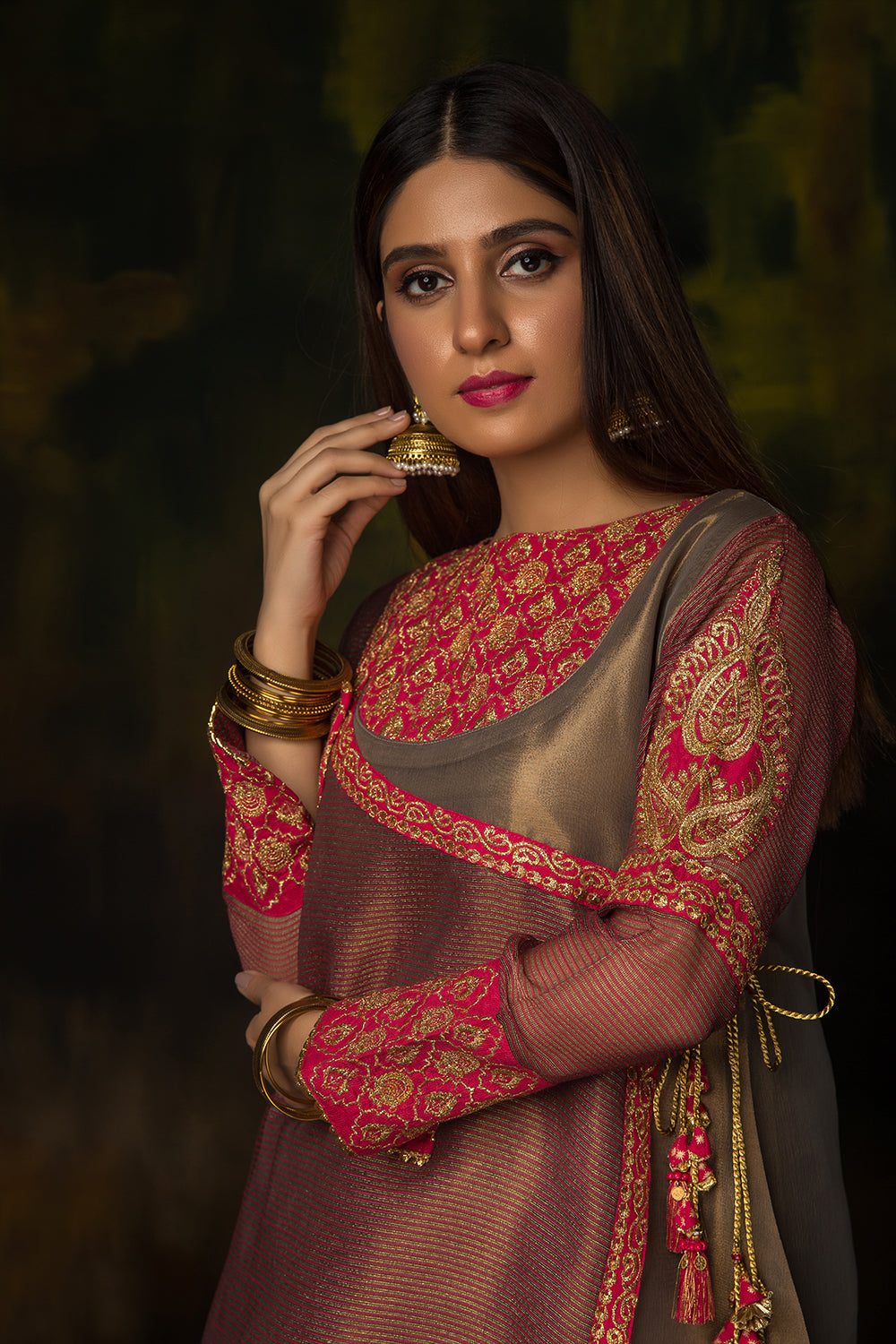 LDD-01310 | Metallic Copper & Shocking Pink | Formal 3 Piece Suit  | Banarsi Jacquard (Metallic)