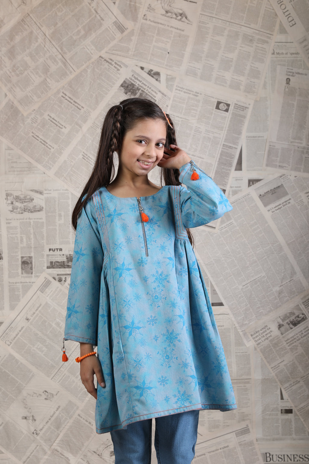 KAA-01658 | Light Blue | Casual Kurta | Cotton Denim Print