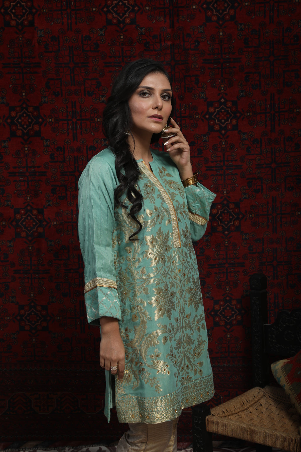 LDA-01367 | Light Green | Formal Kurta | Viscose Jacquard