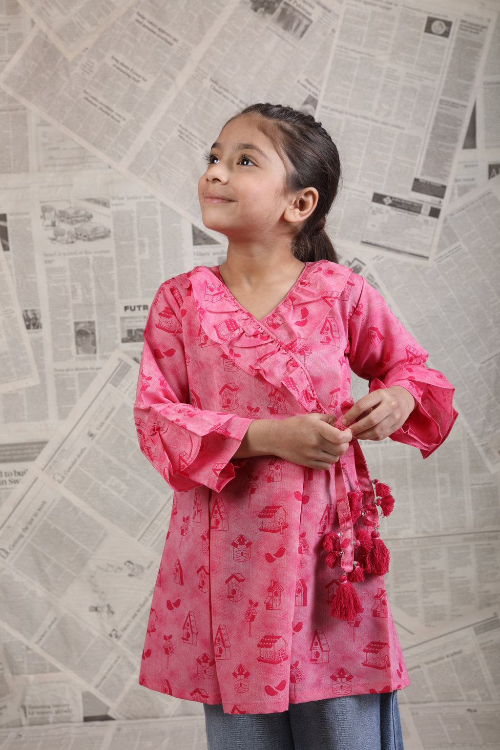 KAA-01622 | Shocking Pink | Casual Kurta | Cotton Denim Print