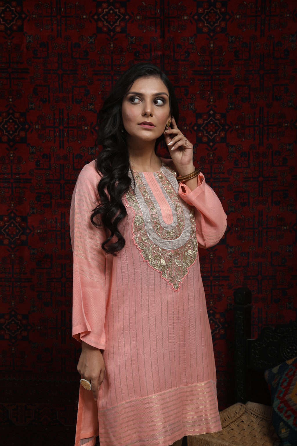LDA-01497 | Peach | Formal Kurta | Banarsi Khaddi Net