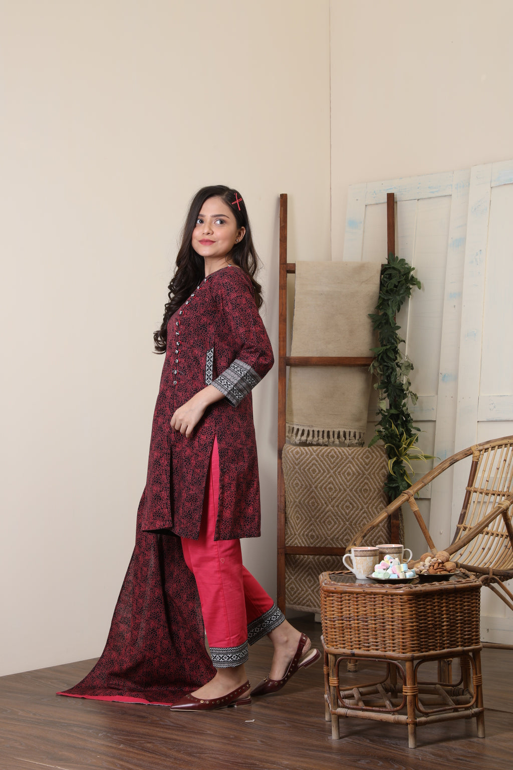 GAD-01651 | Red & Black | Casual 3 Piece Suit  | Cotton Khaddar Print