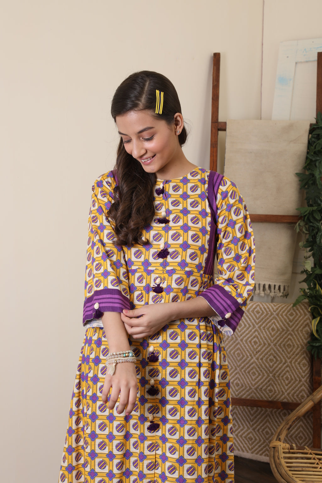 GAC-01652 | Mustard & Purple | Casual 2 Piece Suit  | Cotton Khaddar Print