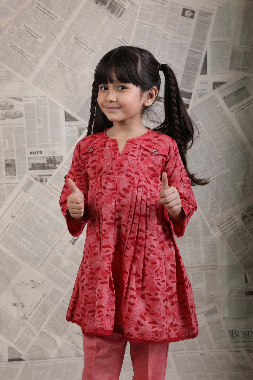 KAC-01623 | Red | Casual 2 Piece Suit  | Cotton Denim Print