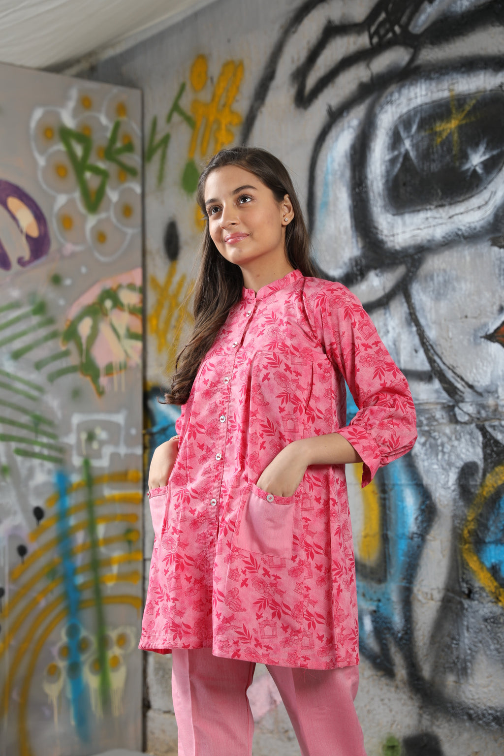 GAC-01631 | Shocking Pink | Casual 2 Piece Suit  | Cotton Denim Print