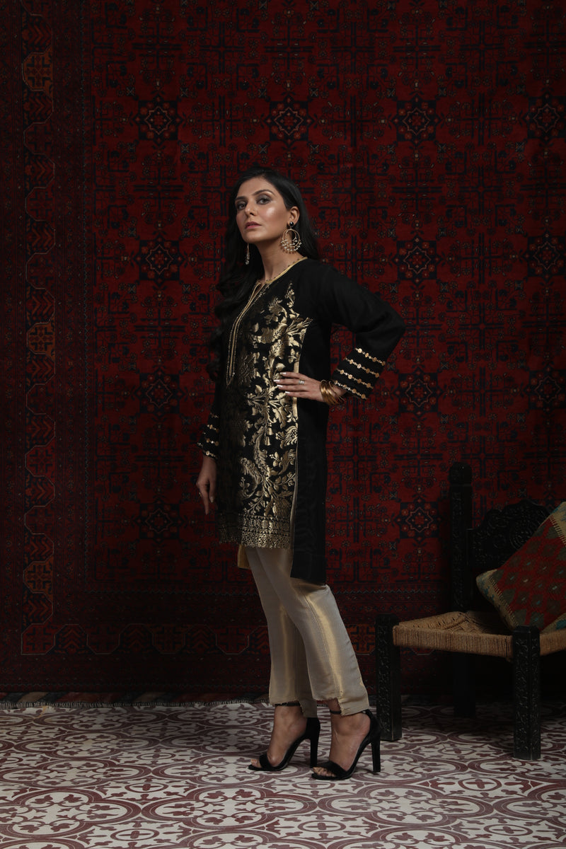 LDA-01366 | Black & Gold | Formal Kurta | Viscose Jacquard