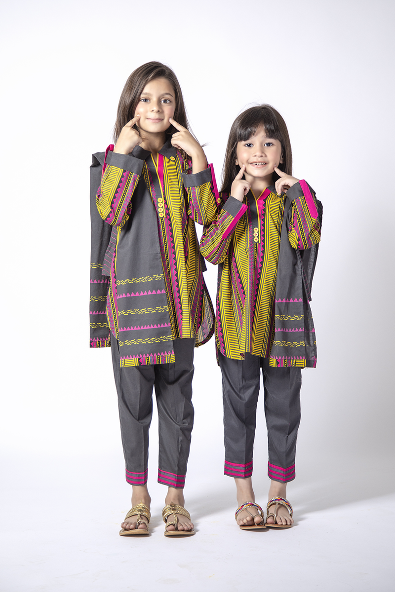 KAD-01346 | Grey & Multicolor | Casual 3 Piece Suit  | Cotton Cambric Print