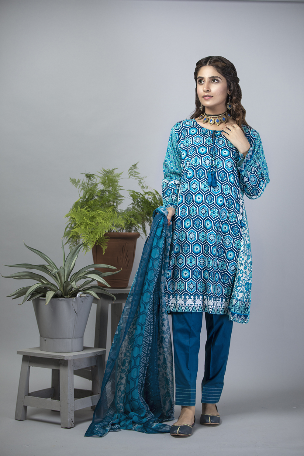 LAD-01185 | Blue | Casual 3 Piece Suit  | Cotton Cambric Print
