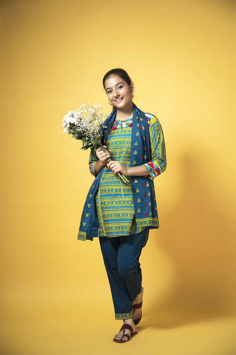 GAD-01348 | Blue & Yellow | Casual 3 Piece Suit  | Cotton Cambric Print