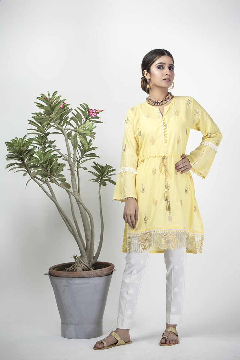 LAA-01325 | Yellow | Casual Kurta | Cotton Cambric Jacquard