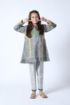 KAC-01370 | Grey | Casual 2 Piece Suit  | Cotton Denim Print